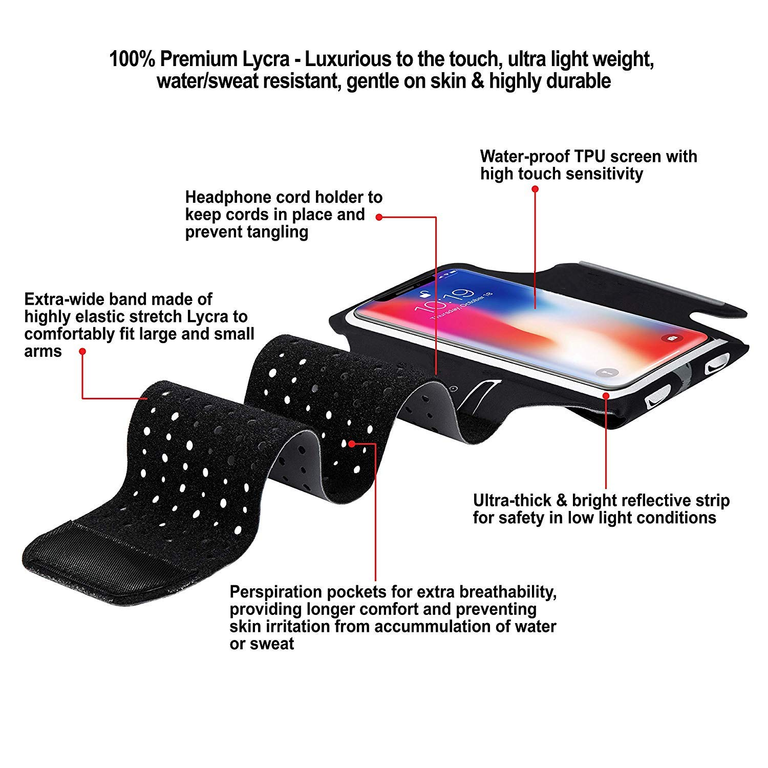 WJZXTEK Running Armband & Phone Holder for iPhone X, Xs, Xs Max, Xr, 8, 7, 6, Plus Sizes, Galaxy S9, S8, S7, S9/S8 Plus, Note with Adjustable Elastic Band & Key/Card Slot - 100% Lycra