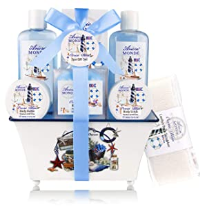 Spa Gift Basket, Home Spa Kit with Ocean Bliss Scent, Perfect Gift Idea for Mother, Wife,Girlfriend, Women, Her Includes Shower Gel, Bubble Bath, Body Scrub, Body Butter, Bath Salt 8 PCS