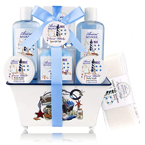 Spa Gift Basket, Home Spa Kit with Ocean Bliss Scent, Includes Shower Gel, Bubble Bath, Body Scrub, Body Butter, Bath Salt 8 PCS, Gift Idea for Mother, Wife,Girlfriend, Women, Her