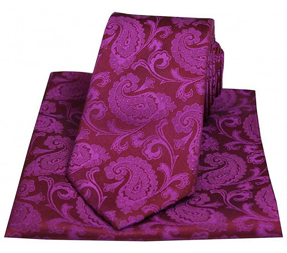 David Van Hagen Mens Paisley Woven Tie and Pocket Square Set Deep Fuchsia