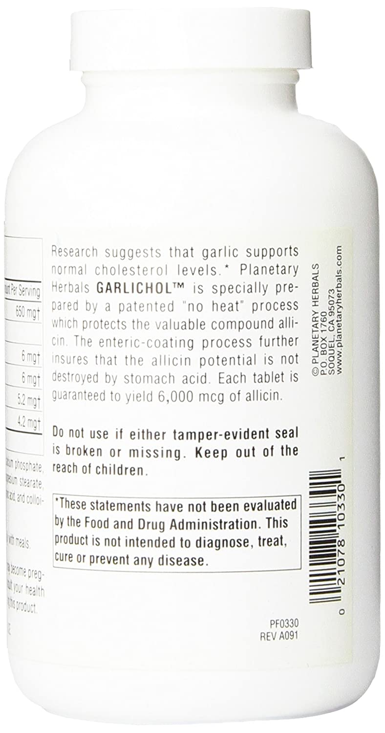 Planetary Herbals Garlichol Tablets, 200 Count