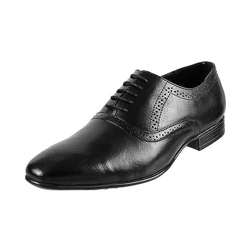 Buy Mochi Men Black Leather Flat Shoes
