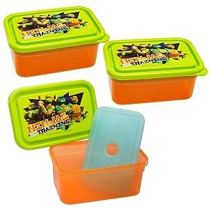 Zak! (3 Pack) Teenage Mutant Ninja Turtles 13oz Food Storage Containers & Freezer Packs With Lids