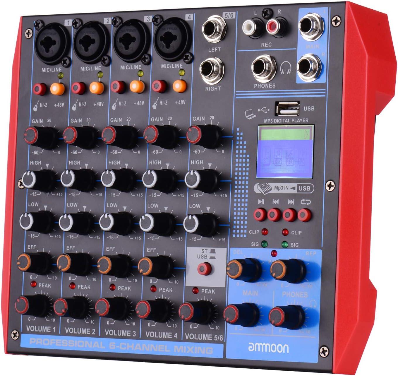 Digitaler Mixer Unterst/ützung Der BT//USB // MP3-Verbindung Echtzeitsendungen und Karaoke ammoon Tragbarer 6-Kanal-Mixer Geeignet f/ür Musikaufnahmen Audiomixer DJ-Netzwerke 48-V-Phantomspeisung