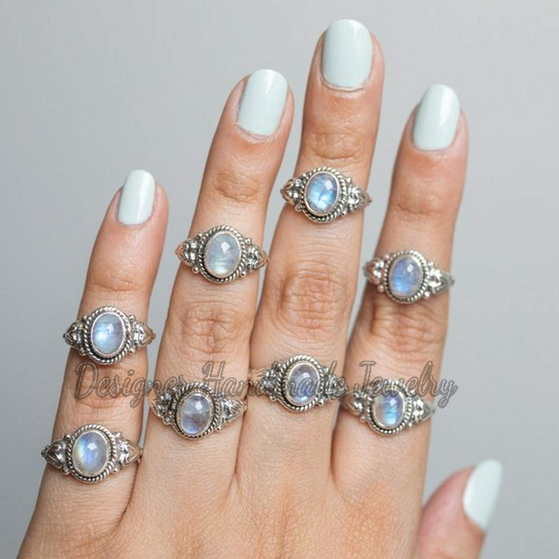 925 Sterling Silver Ring American Seller AR1494 Free Shipping Natural Rainbow Moonstone Ring Moonstone Gemstone