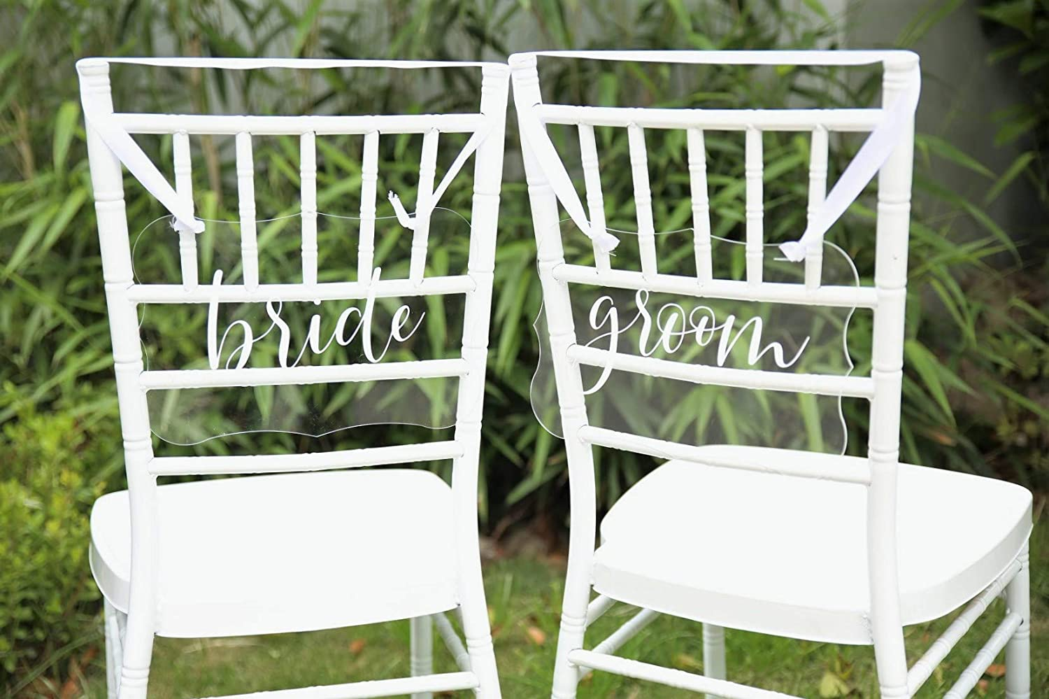 UNIQOOO Bride & Groom Acrylic Chair Back Signs | Wedding Chair Back Sign |  Printed Calligraphy Hanging Sign W/Ribbon | Perfect for Wedding Party