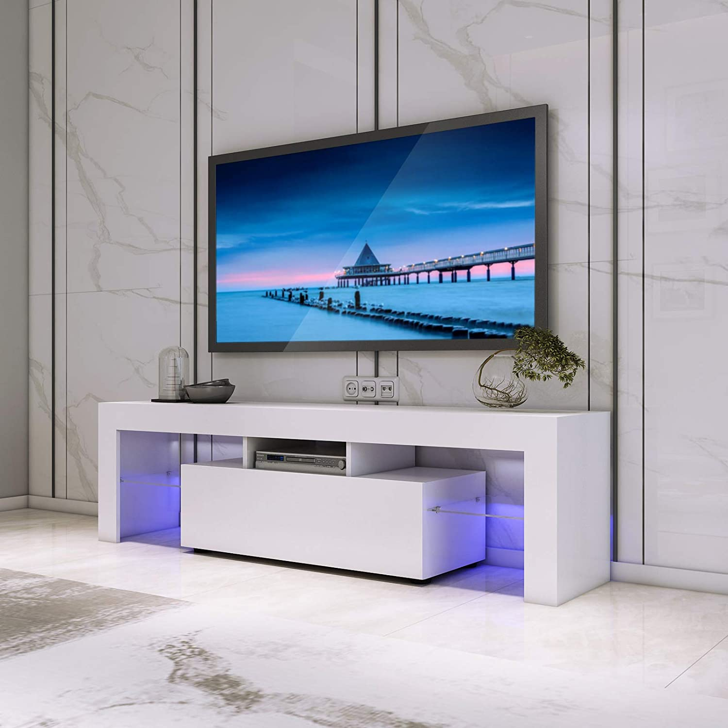 Led Tv Stand Cabinet Unit Modern Tv Desk With Storage Amazon Co Uk Electronics