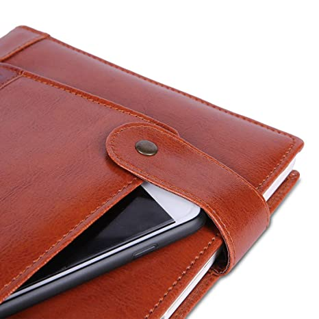 COI Brown Faux Leather Front Pocket Corporate Executive Travel Diary Budget Planner Organizer 2019. Gift for Man and Woman with Designer Pen.