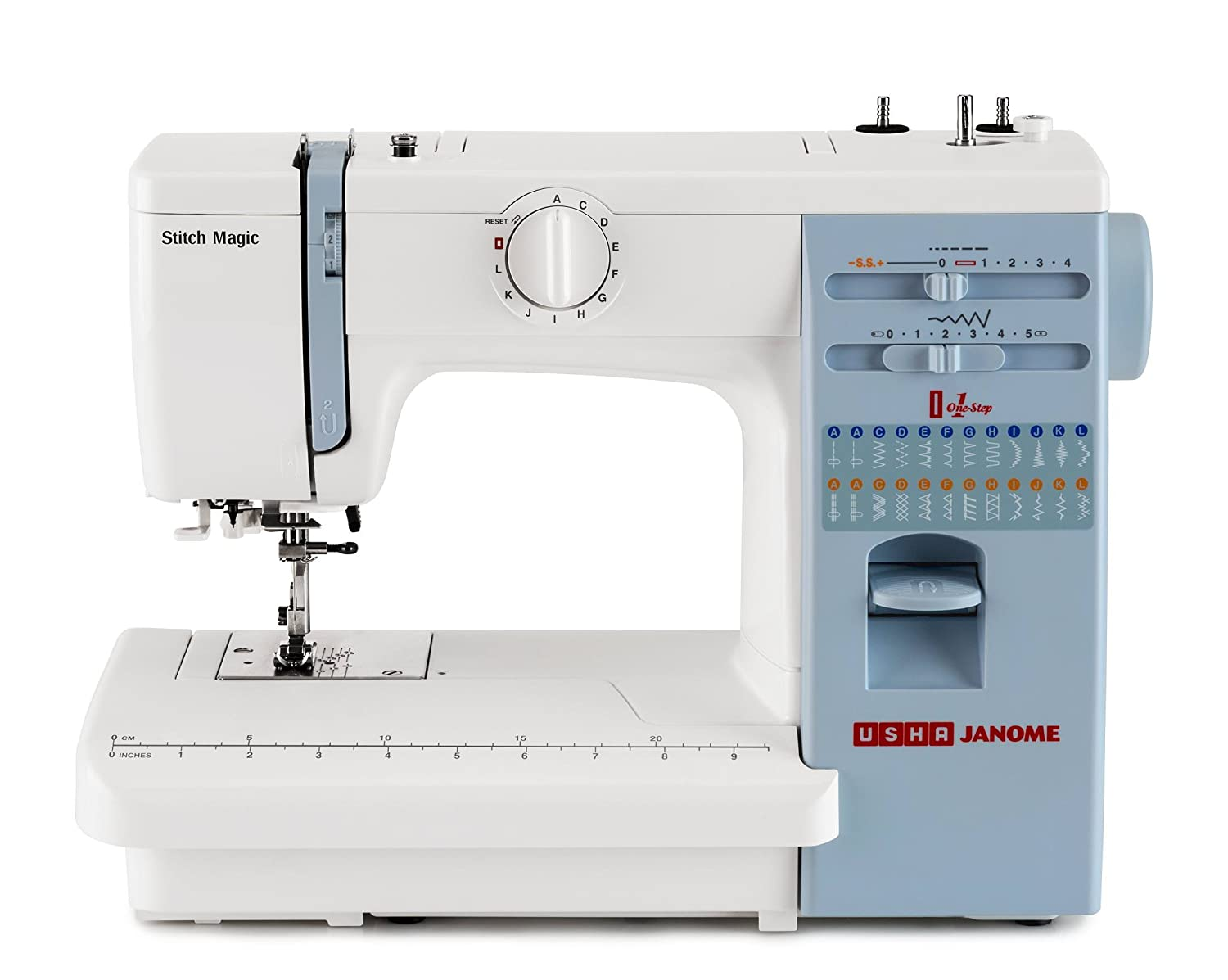 Usha Janome Automatic Stitch Magic Sewing Machine (White And Blue)