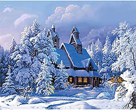Amazon Com Diamond Painting Full Drill Cabin In Snow Forest Diy