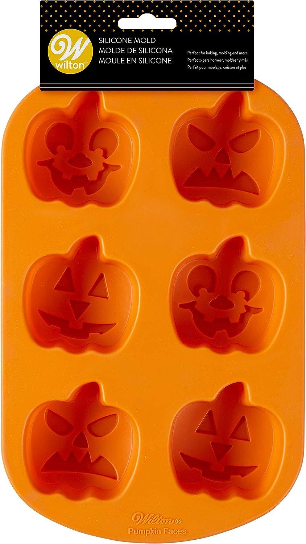 قالب سيليكون من ويلتون، 6 تجويف، برتقالي، Jack-O-Lantern