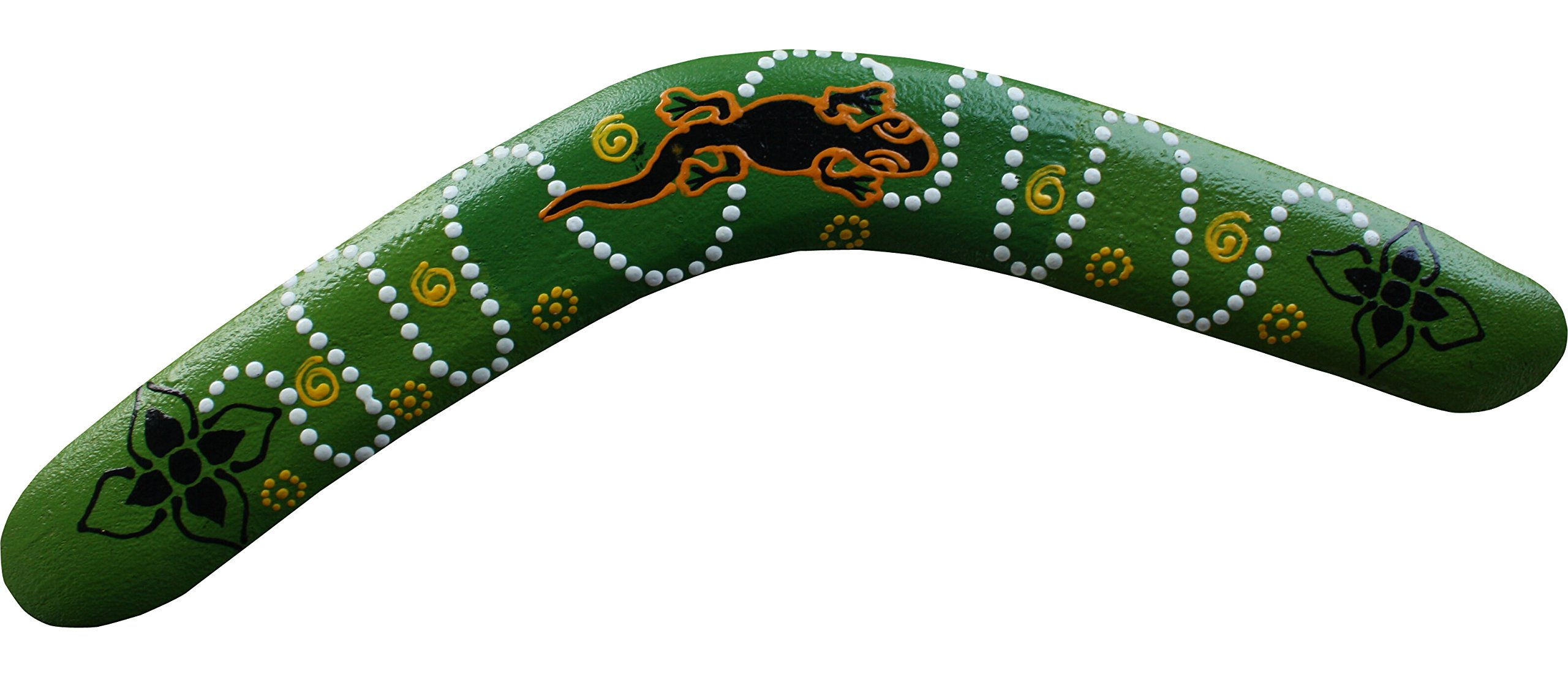 Raan Pah Muang Brand Thai Made Australian Aboriginal Art Decorative Boomerang #88304 by Raan Pah Muang