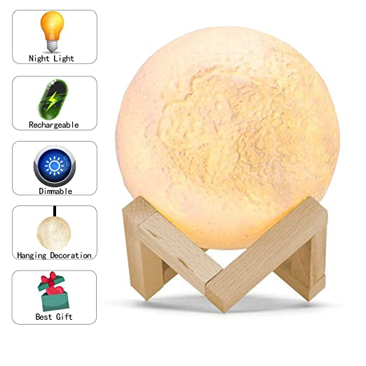 RSPrime Creative 3D Moon Lamp LED Lunar Night Light Moonlight Portable  Table Lamp Dimmable Brightness USB