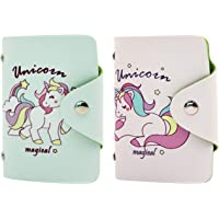 (Pack of 2) Credit Card Case Wallet Unicorn Snap PU Leather ID Card Holder Purse