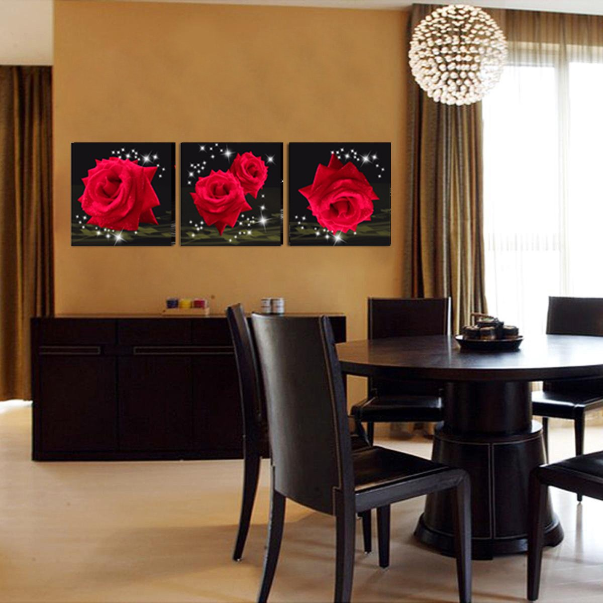 Mon Art Love Of Red Roses Modern Decorative Wall Canvas Set Of 3(UnStretched and UnFramed) by Mon Art (Image #5)