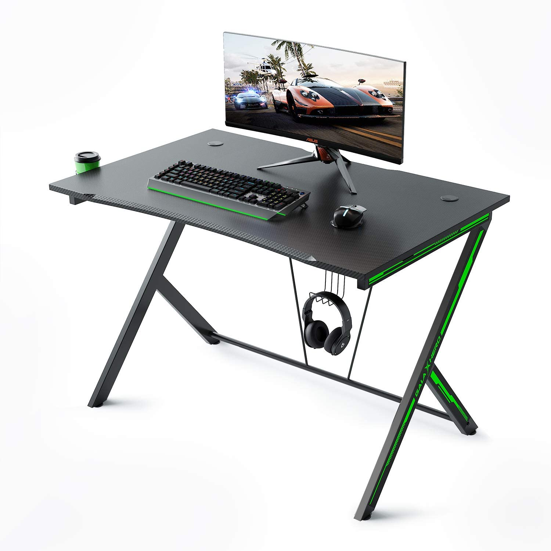 Galaxhero escritorio para videojuegos de 46 pulgadas, mesa de juego frontal curvada, escritorio para computadora en casa con soporte para taza y gancho para auriculares, mesa de juego para estación de trabajo: