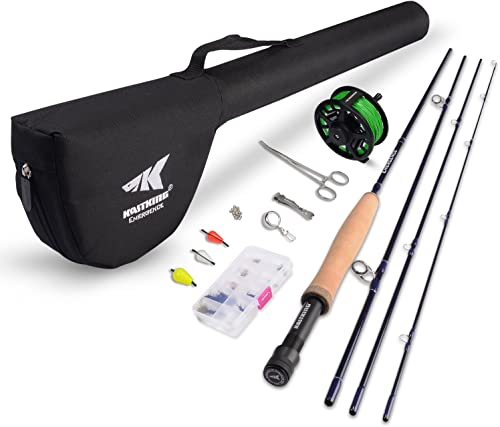 KastKing Emergence Fly Fishing Combo – 4 Piece Graphite Fly Fishing Rod, Pre-Loaded Aluminum Fly Fishing Reel, Accessories and 12 Popular Flies – with a Protective Travel Case – Super Value