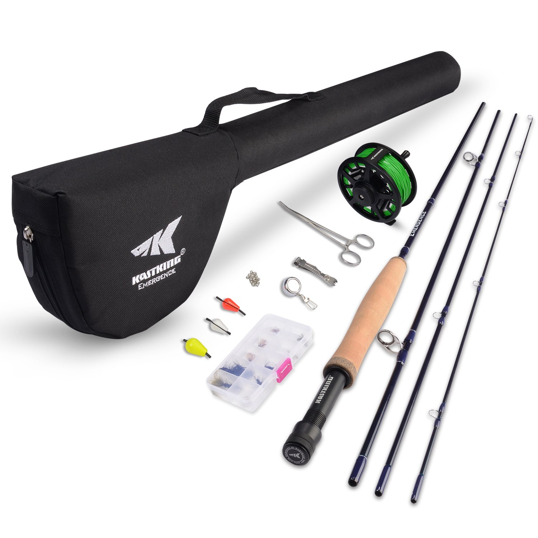 KastKing Emergence Fly Fishing Combo,4 Wt,8ft 6in, Half Handle,Rod (8+1),3 or 4 Reel