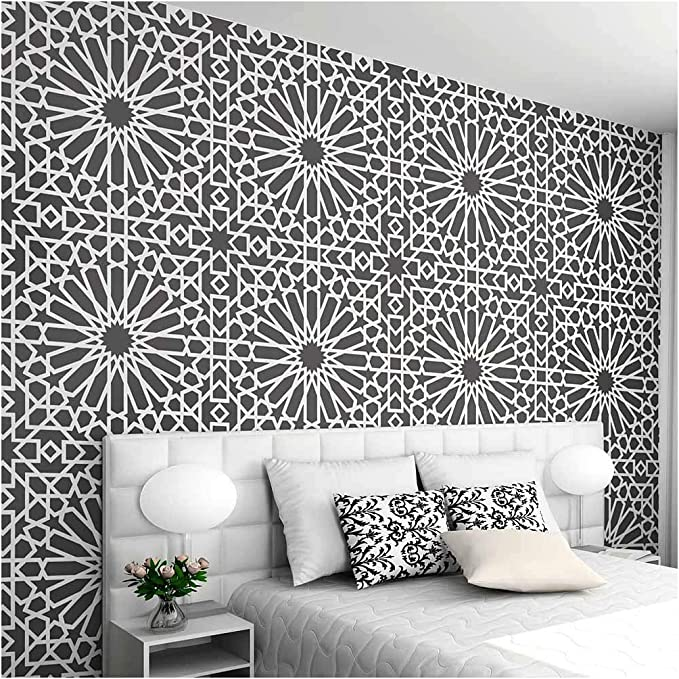 floors and crafts MURCIA LARGE TILE stencil A Moroccan stencil design to transform your walls decorating stencil to create painted tiles