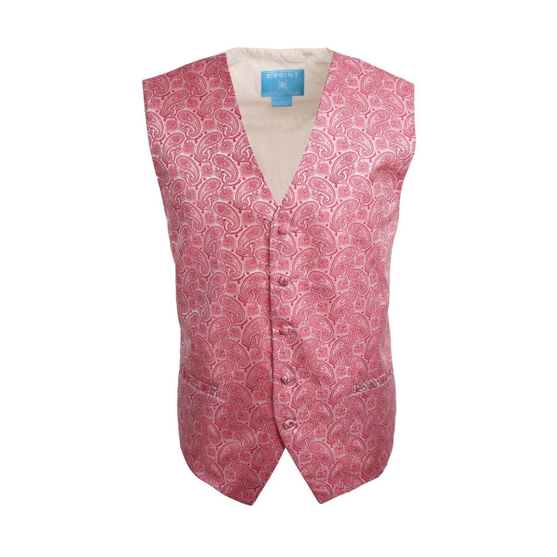 EGC1B04C-L Pink Red Patterned Classy Internet Waistcoat Woven Microfiber Friendship Mens Vest Large Vest By Epoint
