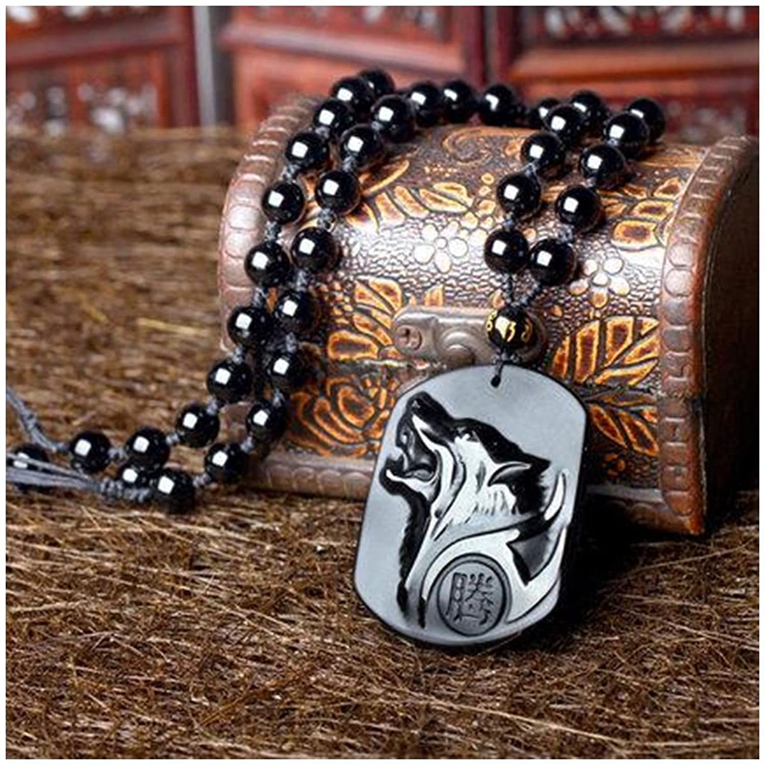 SODIAL(R) Natural Handwork Carved Black Obsidian Wolf Head Pendant With Beads Necklace ZyfnES8