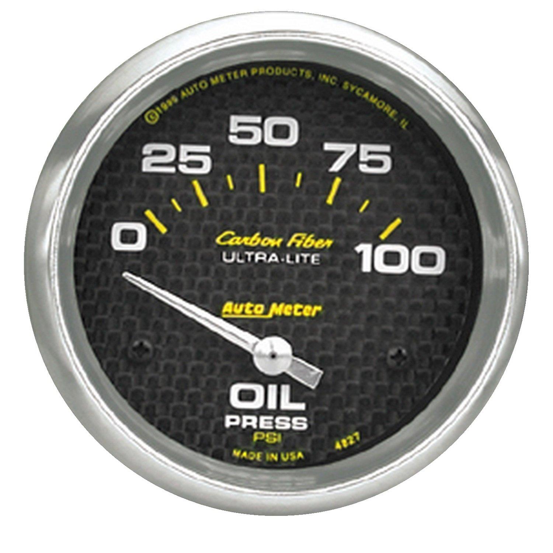 Auto Meter 4827 Carbon Fiber Electric Oil Pressure Gauge