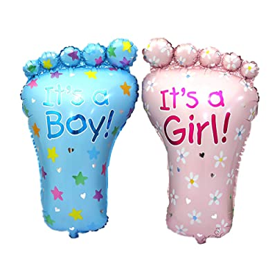 """It's A Girl It's A BOY Balloon Baby Foot Helium Quality Foil Balloon for Baby Showers Party Supply Decorations 28"""" (Boy & Girl): Health & Personal Care"""