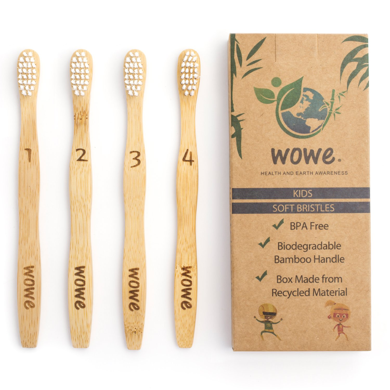 Wowe Kids Natural Organic Bamboo Toothbrush Individually Numbered Ergonomic, Soft BPA Free Bristles, Pack of 4