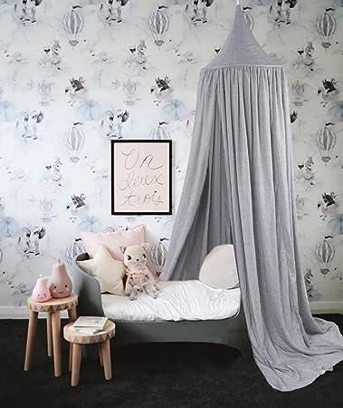Lieblich Baibu Deko Betthimmel Bettvorhang Für Kinder,Moskitonetze Baldachin Für Bett  Im Zimmer Grau