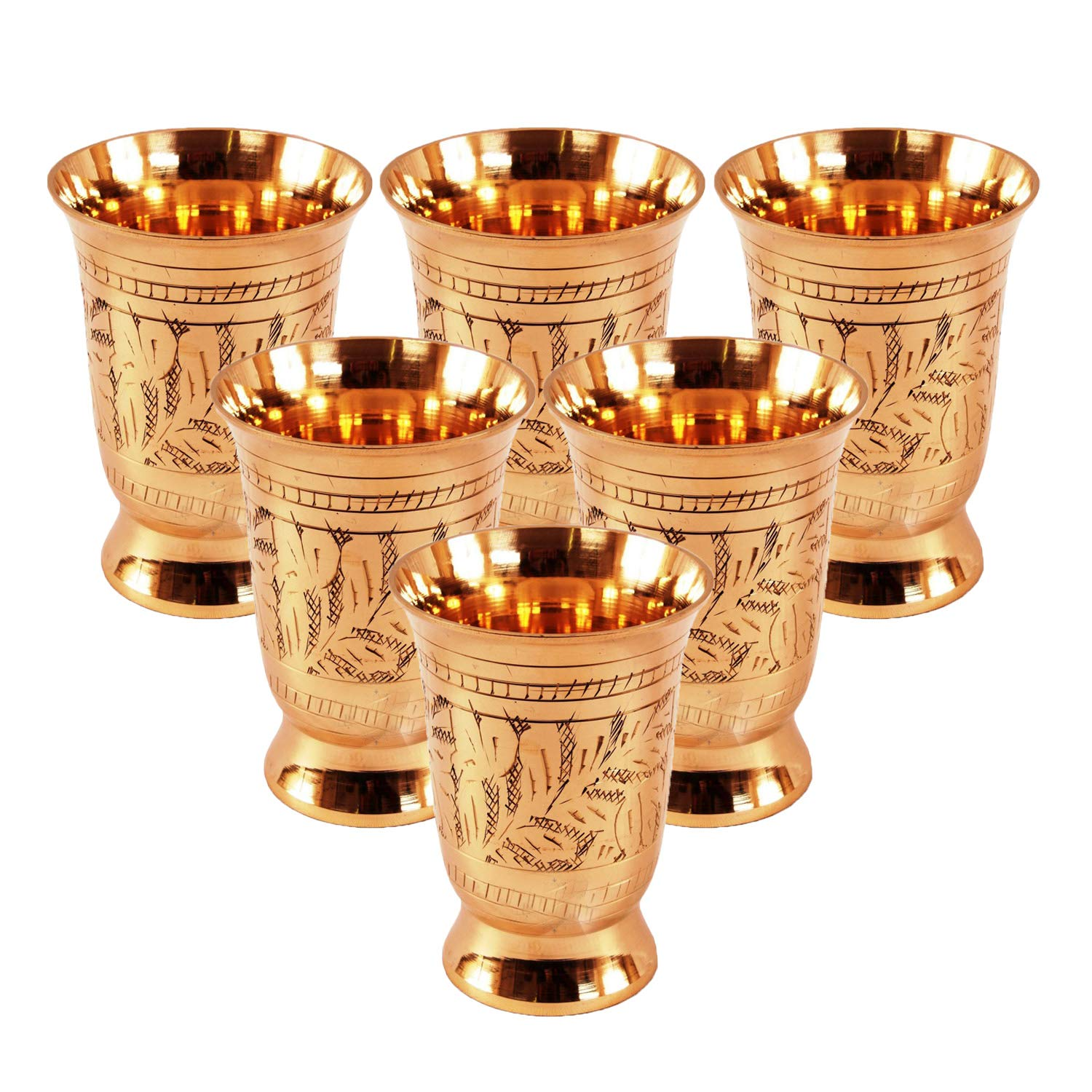 Set Of 6 Mughlai Style Designer Brass Mint Julep Cup Goblet Tumbler Capacity 8.5 Ounce Each