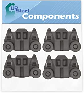 4-Pack W10195417 Dishwasher Wheel Replacement for KitchenAid KDFE204ESS3 Dishwasher - Compatible with WPW10195417 Dishwasher Rack Roller - UpStart Components Brand
