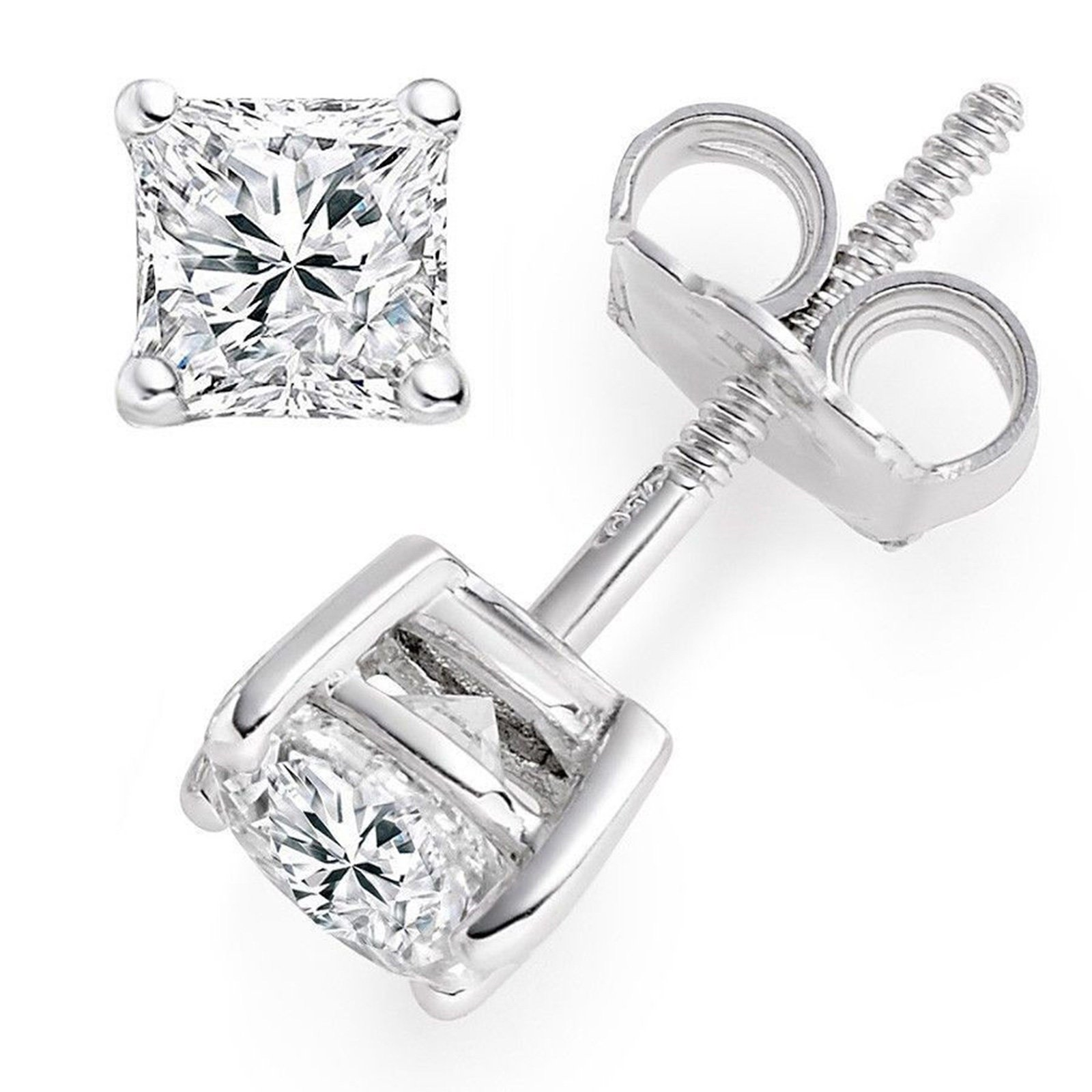 4.0 ctw Princess Brilliant Cut Simulated Diamond CZ Solitaire Stud Earrings in 14k White Gold Screw Back by Clara Pucci (Image #2)