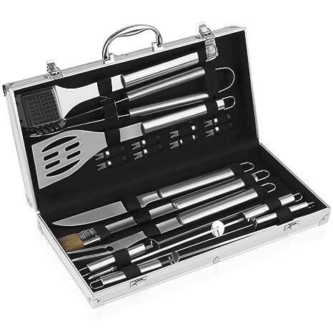 INTEY Utensilios de Barbacoa Acero Inoxidable Kits de Utensilios con Caja de Almacenamiento de Aluminio (