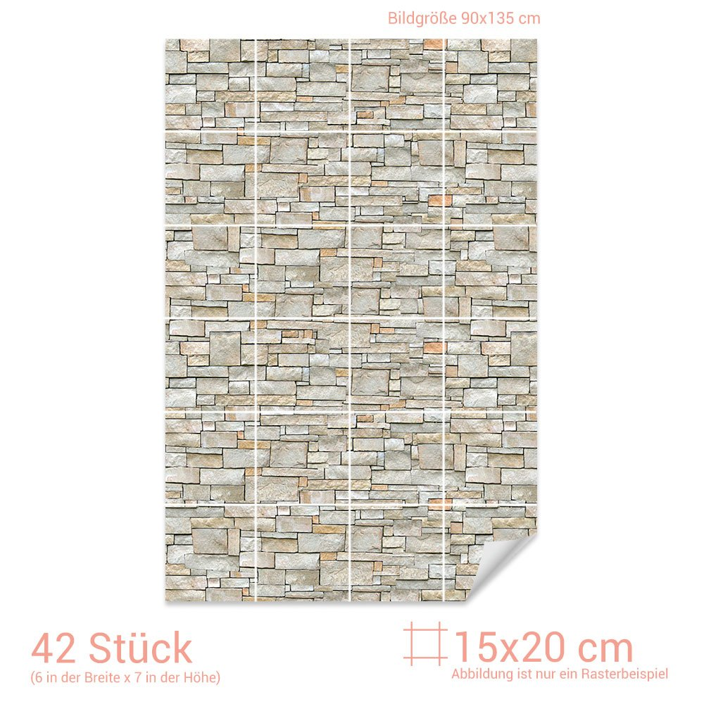 Graz Design 767080_15x20_90 Fliesenaufkleber Stein - Mauer Mauer Mauer - Optik   mit Fliesenbildern die Fliesen-Wände überkleben (Fliesenmaß  15x20cm (BxH)  Bild  90x135cm (BxH)) a02f70