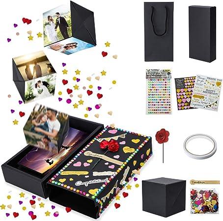 Artscope Caja de Regalo de Explosión Creativa Hecha a Mano DIY Amor Memoria Álbum de Fotos Scrapbooking Caja de Sorpresa para Aniversario, Día de San Valentín, Boda, Cumpleaños, Navidad: Amazon.es: Hogar
