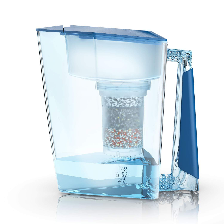 MAUNAWAI – Filtro per Acqua, Premium Bio Made in Germany, con 1 brocca per Acqua Potabile + 1 Filtro per sciacquone e Cuscinetto per Filtro (per 3 Mesi), Azzurro Prezzi