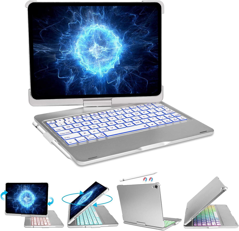 iPad Pro 11 Case 2018 with Keyboard, 5-in-1 USB-C Hub - 7 Color Backlit - Wireless Bluetooth - Auto Wake/Sleep - 360° Rotation - Pencil Holder - Smart Magic Keyboard for iPad Pro 11 Keyboard, Silver