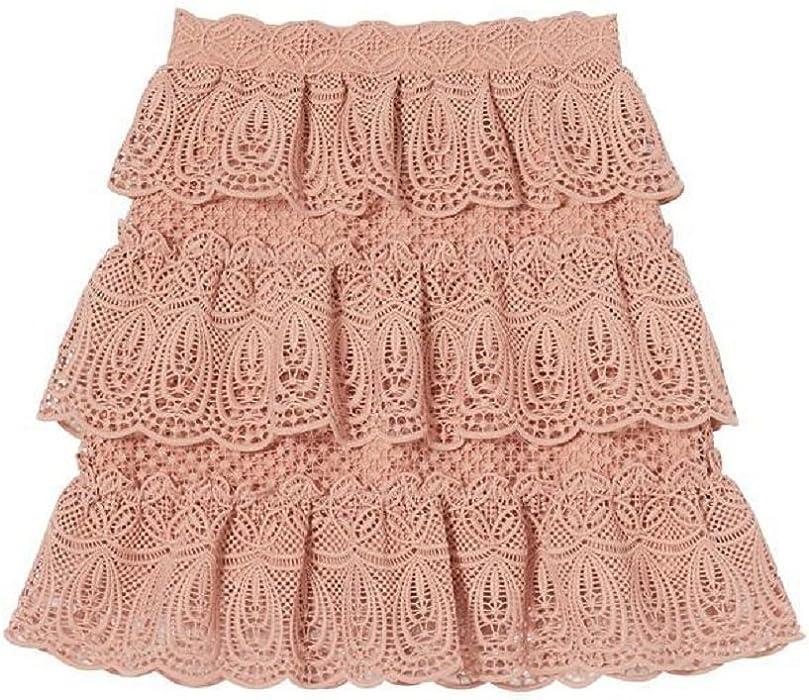 1a0fdff29 Amazon.com: Self Portrait Women's Blush Tiered Lace Skirt 8: Clothing