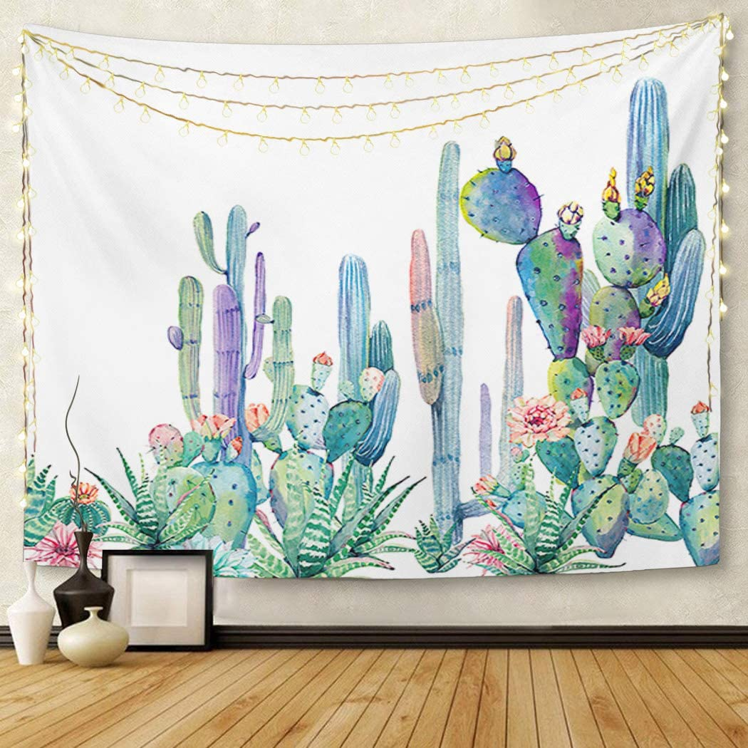 Britimes Tapestry Wall Hanging,60x80inches Green Cactus white Nature Tapestry for Bedroom Living Room Dorm Decor Home Decoration Art
