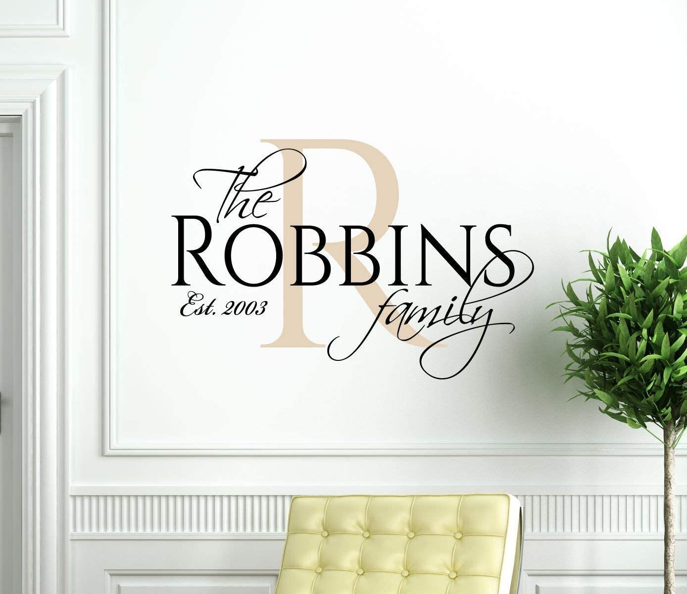 Personalized Family Name Wall Decals of Premium Vinyl stickers for Home and Wall Decor with Established Marriage Year and Monogram Initial - Custom Sizes and Colors Match the Theme of any Living Space