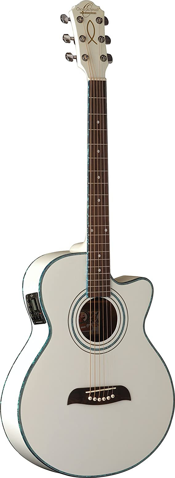 Oscar Schmidt OG10CEWH-A-U Folk Acoustic Electric Guitar - White
