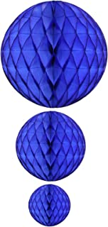 product image for Dark Blue Honeycomb Balls, Set of 3 (12 inch, 8 inch, 5 inch)