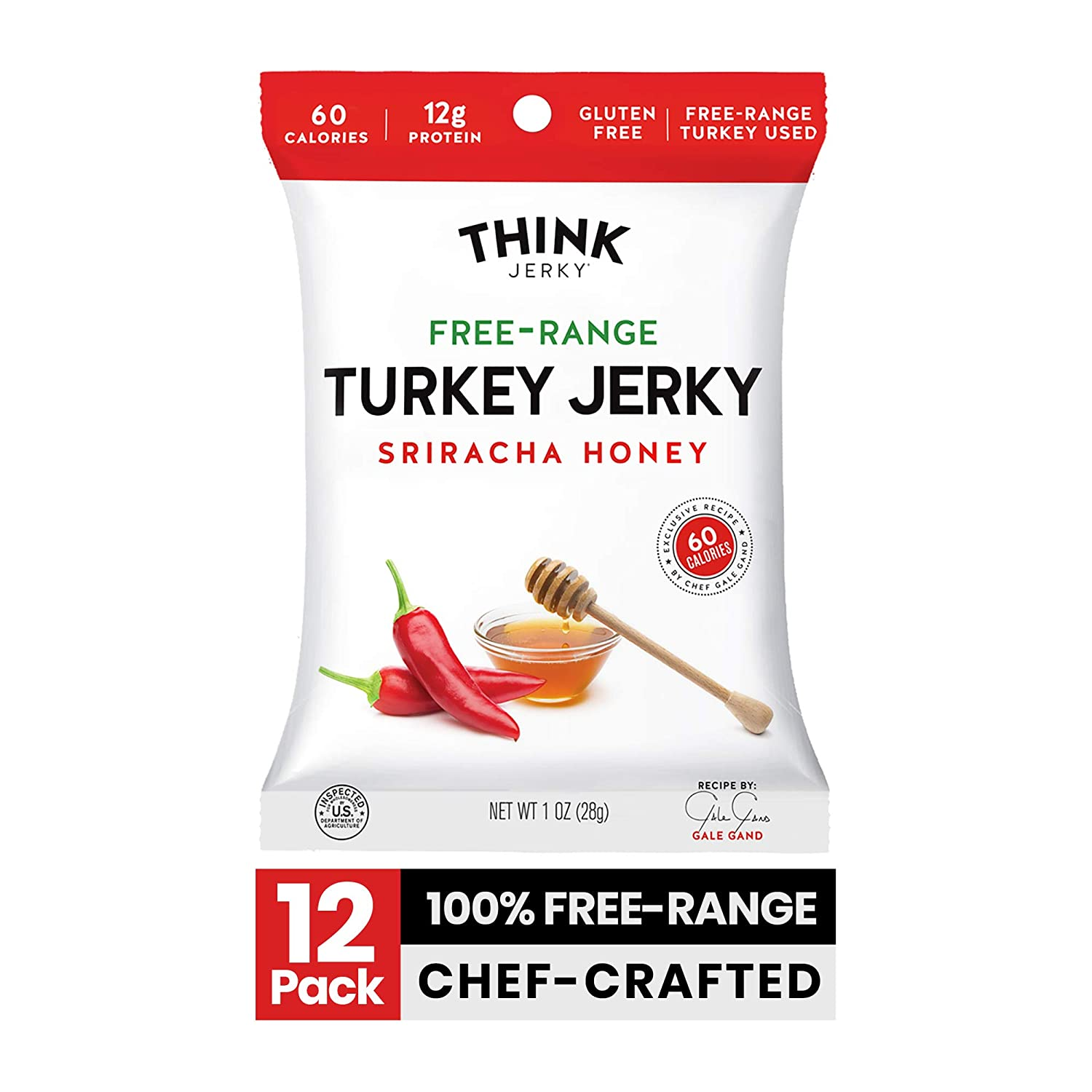 Sriracha Honey Turkey Jerky by Think Jerky — Delicious Chef Crafted Jerky — Free-Range Turkey With No Gluten or Antibiotics Added — Healthy Protein Snack Low in Calories and Fat — 1 Ounce (12 Pack)
