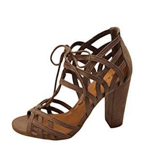 Bamboo Rampage 56M Women's Open Toe Lace Up Chunky Heels (07, Light Taupe)