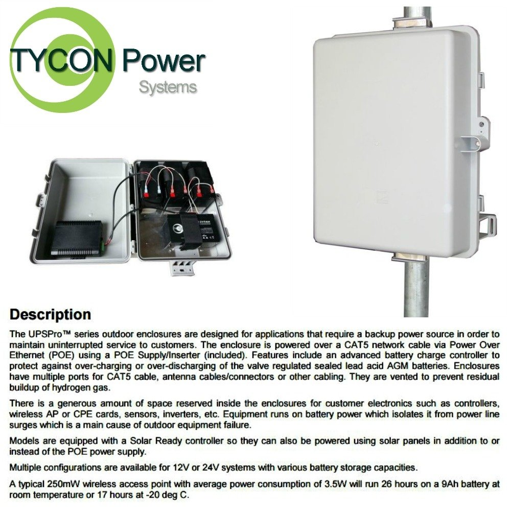 Tycon Power Systems - UPS-PL1224-18 - Ups Pro, 30w 200va Polycarbonate Enclosu by Tycon Power Systems