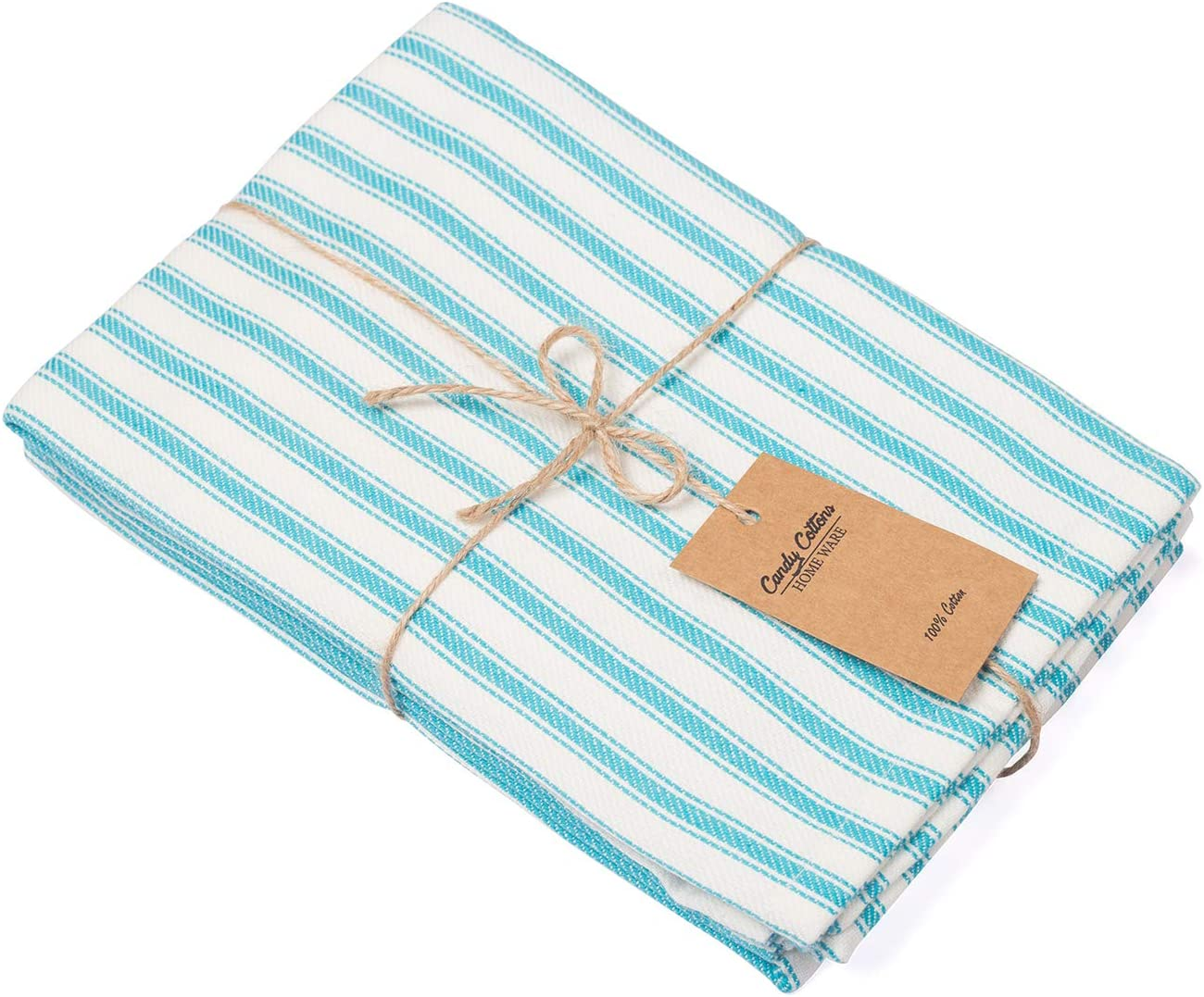 Pack of 6 18 x 18 Table Napkin French Stripes Dinner Napkin 100/% Pure Cotton Aqua Blue and White Stripes