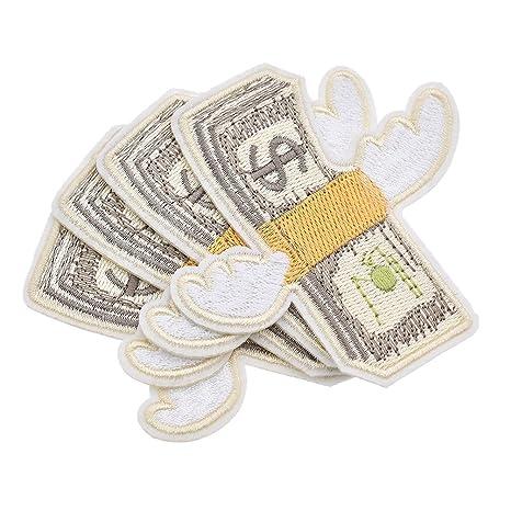 Aufnäher 7,5x6,1cm Bügelbild Dollar Symbol Geld Patches Aufbügeln rot