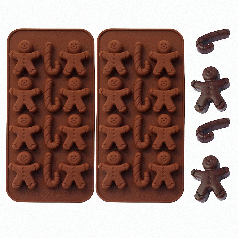2-Pack Gingerbread Man Chocolate Molds Set - MoldFun Christmas Party Gingerbread Man Silicone Molds for Ice Cubes, Soaps, Candles, Muffins, Cookies, Jello Shots