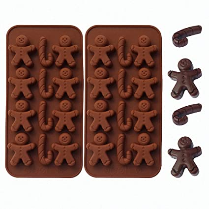 2 Pack Gingerbread Man Chocolate Molds Set Moldfun Christmas Party Gingerbread Man Silicone Molds For Ice Cubes Soaps Candles Muffins Cookies