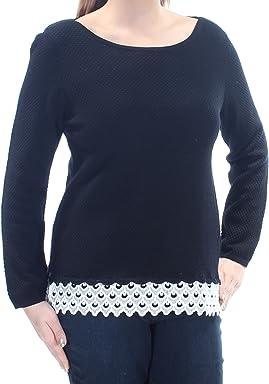 Charter Club Petite Lace-Trim Textured Sweater, Deep Black, Large